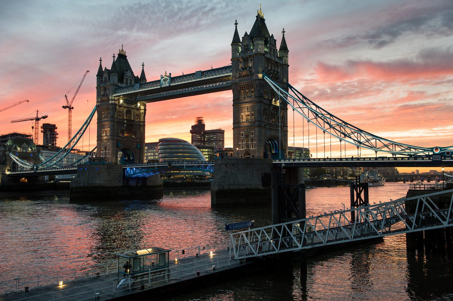 Photograph of Tower Bridge at sunset